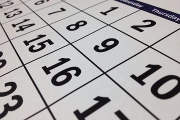 Perspective view of dates on a calendar stretching to the horizon