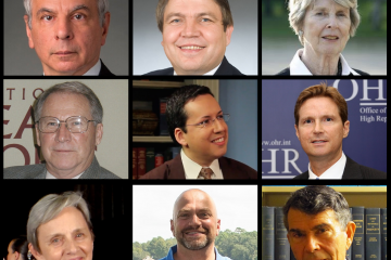 Collage of portraits of the nine current board members